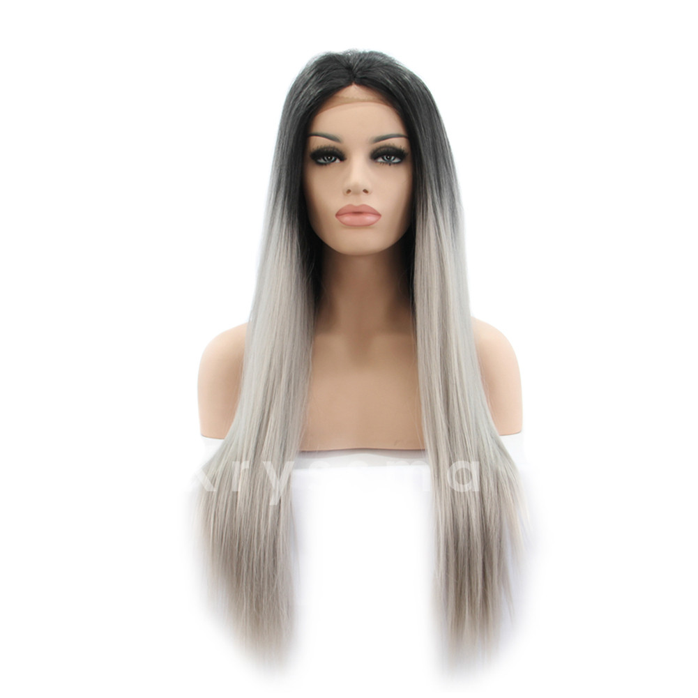 Ombre Silver Straight Synthetic Lace Front Wigs Alva