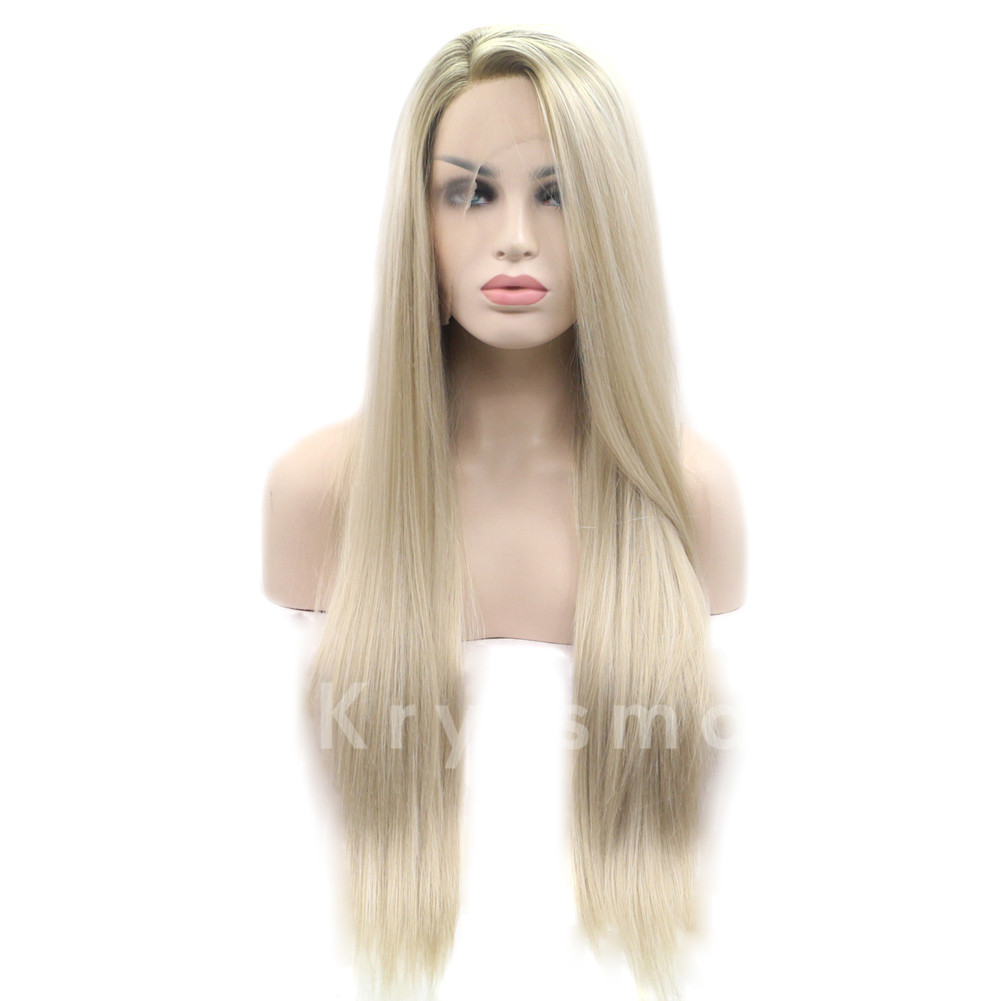 Ombre Blonde Straight Synthetic lace Front Wigs - Bblythe ...