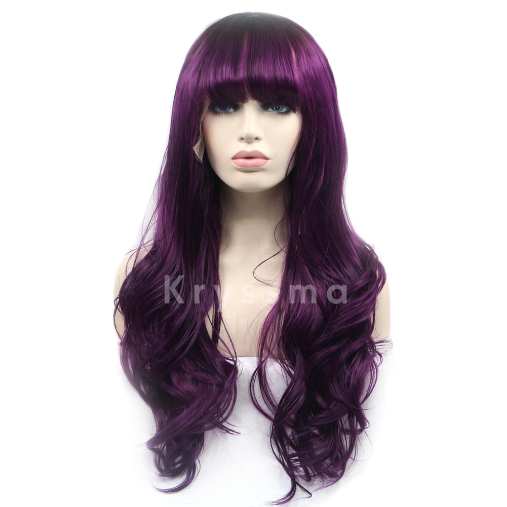 purple synthetic lace front wigs with bangs kryssmacom