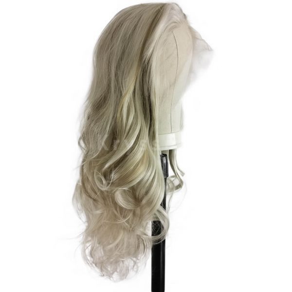 Ombre Blonde Mixed Brown Wavy Synthetic Lace Front Wig Cindy
