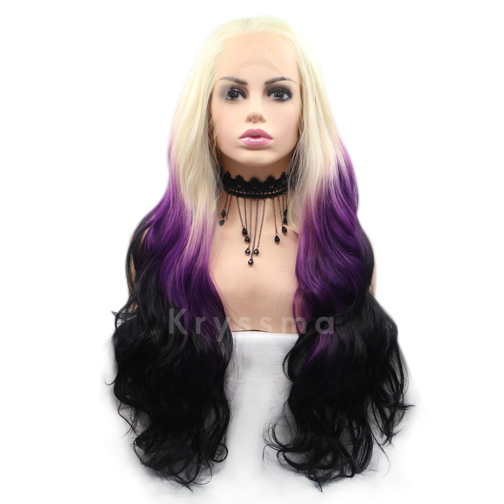 09e6b8f913a BLONDE PURPLE TO BLACK WAVY SYNTHETIC LACE FRONT WIGS
